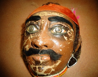Masks Grungy Freakish Hand made Hand painted Masks/ Voo Doo Masks / Antique Wall Art Rare Masks