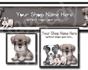 Premade Etsy Cover Photo - Large Etsy Banner - Premade Etsy Shop Banner - SHOP ICON - Shop Profile - Cute Puppy Dogs - Bulldog - Canine