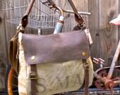 US Mail   - Vintage Seed Sack Leather Satchel Bag - Americana Leather Canvas & Leather Bag... Selina Vaughans