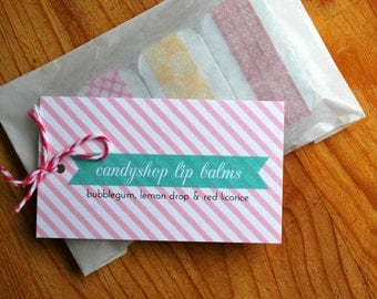 Candy Shop Lip Balm Trio: Bubblegum, Lemon Drop, Red Licorice
