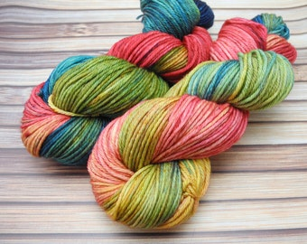 Rainbow Vista - Hand Dyed Worsted Weight Yarn, Superwash Worsted Merino  - In Stock