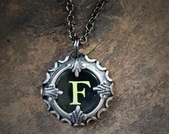 Letter F  Vintage Typewriter Key Wrap Necklace
