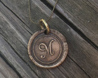 Personalized Initial Necklace Letter M, Vintage Wax Seal Pendant