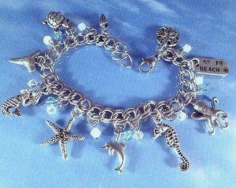 Beach Charm Bracelet Steel or Sterling Silver Chain Sea Creatures Starfish Mermaid Turtle Dolphin Seahorse Shells Crystals