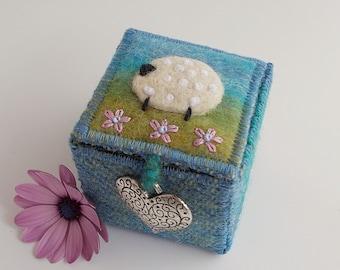 Harris Tweed and Felt Sheep Trinket Box