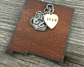 NEW MEXICO | Rustic 2016 Christmas Ornament | Route 66, Cowboy Boot, Snowflake Charms, Handstamped Brass Tag