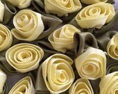 "Yellow Ribbon Roses, 2 Dozen (24) Handmade 12mm (1/2"") Ribbon Roses in Butter Yellow"