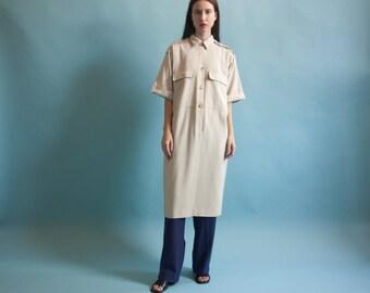 military sack dress / utilitarian tent dress / oversized shirt dress / s / m / 1515d / B6