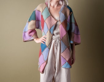 patchwork asymmetric cardigan sweater / s / 027t
