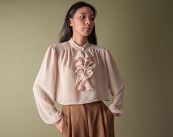 ruffle collar crop top blouse / ruffle sleeve blouse / poet blouse / s / m / 1558t