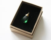 Green Quartz Pear Cut Briolette Goldfilled Wire Wrapped Pendant UK Seller Contemporary Gift Idea
