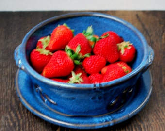 Cobalt Blue Berry Bowl or Colander with Saucer Stoneware Pottery