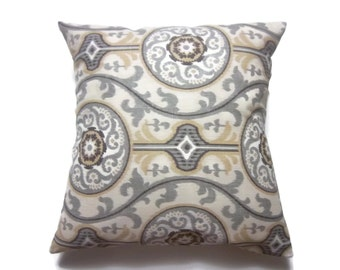 Decorative Pillow Cover  Suzanni Design Gray White Brown Yellow Same Fabric Front/Back Toss Throw Accent 18x18 inch x