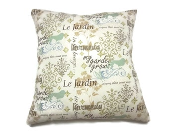 Pillow Cover Fanciful Script Design Mint Green Blue Brown Olive Green Cream Same Fabric Front/Back Toss Throw Accent 18x18 inch x