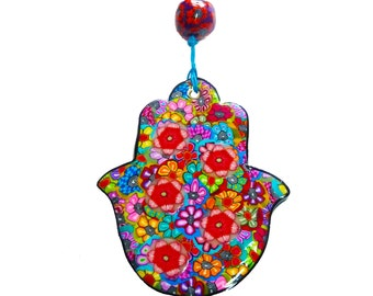 Hamsa Wall Decor, Hamsa Art, Hamsa Wall hanging, Home Decor Judaica, Polymer Clay, Judaica, Israel, Made in Israel, Hamsa hand, evil eye