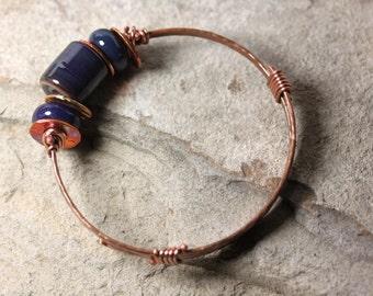 Copper & Lampwork Bangle - Blue