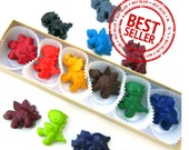 Kids' DINOSAUR CRAYONS, KIDS' Party Favors Set of Six (6) Coloring Toys in Asst Colors, Valentine's Day For Boys and Girls, Free Gift Box