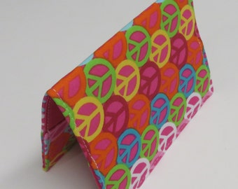 SAMPLE SALE  - Passport Holder Cover Case Cruise Holiday Travel Holder - Multi Color Peace Signs on Dark Pink
