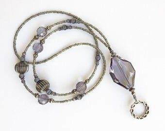 Cloudy Sky - beaded badge lanyard - grey, gunmetal and silver glass beaded ID badge lanyard necklace for teacher nurse gift