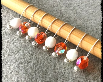 Snag Free Stitch Markers Medium Set of 8 -- White and Orange Faceted Czech Glass -- M23 -- For up to size US 11 (8mm) Knitting Needles
