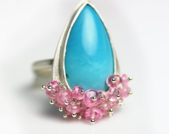 Turquoise Statement Ring with Pink Tourmaline Fringe . US size 7 . December Birthstone.