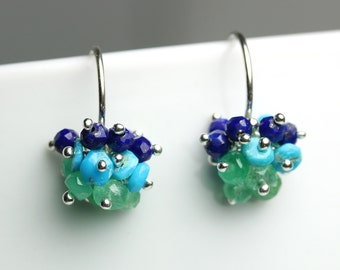Gemstone Cluster Earrings. Turquoise Lapis Lazuli Emerald.