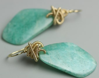 Amazonite Earrings. Gold Fill Knotted Amazonite.