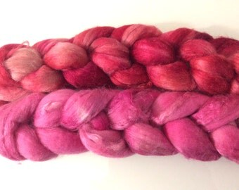 Kammzug Wolle/Seide, handgefärbt, pink, beere