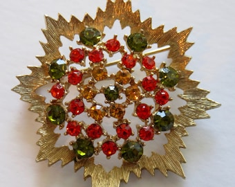 SJK Vintage -- Sarah Coventry Signed Pale Gold and Rhinestone Starburst Brooch, Red Yellow, Green Rhinestones, Autumn (1960's-70's)