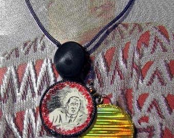 Handmade Mixed Media Collage Pendants Necklace Psychodelic Red Black Gold Vintage Ephemera 1930s Gold Shimmer Original ooak Pun Humor Art