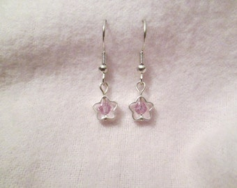 Lavender Light Purple Swarovski Crystal and Silver Plated Star Earrings