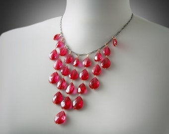 VALENTINES DAY SALE Ruby Bib Necklace with Solid 14K Gold and Blue Topaz Accents