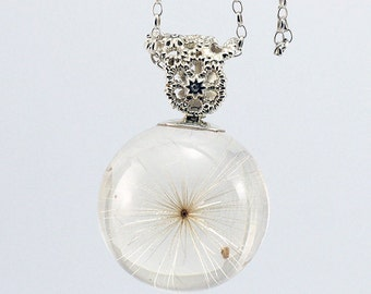 Stunning Bridal Necklace, Dandelion and Zirconia, Sterling Silver Necklace, Resin Jewellery