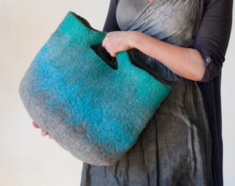 Medium Sized Everyday Art Bag / Cottage/ Tote / Shopping / Market / Picnic / Hand felted wool / Wearable Art