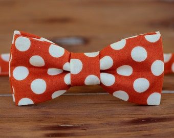 Mens orange dot bow tie - men's orange & cream polka dot bowtie - bow tie for men and teen boys - gift for him - wedding bow tie - photo