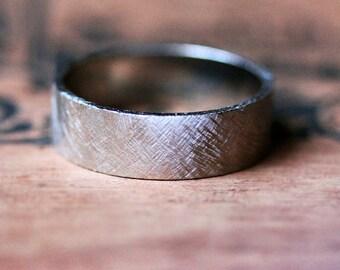 Palladium wedding band, mens wedding band, modern wedding ring, wide wedding band, textured ring, recycled metal, custom made