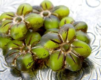 Greenbriar (6) -Czech Glass Star Flowers 14x13mm