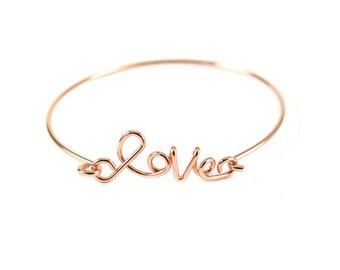 """Rose Gold Plated """"Love"""" Wire Cuff Bracelet (1x) (K400-E)"""