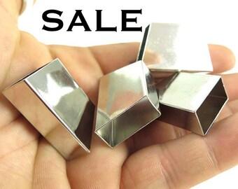 Rhodium Plated Geometric Tube Bead Pendants (4x) (K110-B) SALE - 25% off