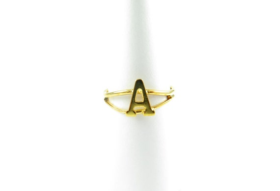 Vintage Gold Plated Adjustable Initial Letter A Ring (2X) (J517-A)