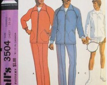 50% OFF SALE 1970s Vintage Sewing Pattern McCall's 3504 Mens Jog Suit or Sport Jacket & Racket Cover Pattern Size Small Uncut