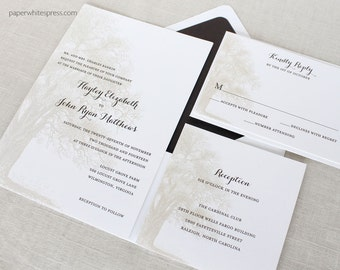 Oak Tree Wedding Invitations, Oak Wedding Invitations, Tree Wedding Invitations, Rustic Wedding Invitations, Outdoor Wedding Invitations