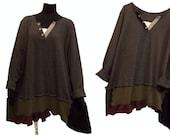 3X Asymmetric Color Block Sweater Tunic XXXL Plus Size Women Recycled Handmade Clothing Earthy Green, Burgundy Black Charcoal Gray Lagenlook