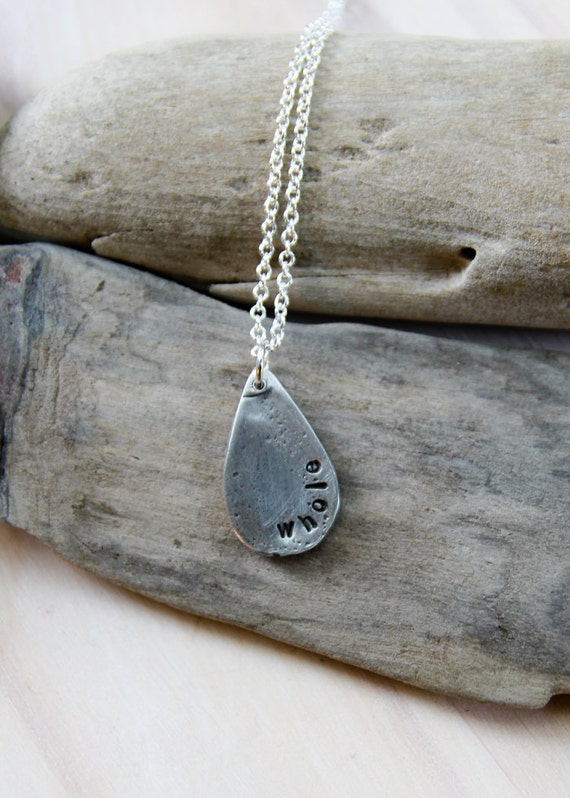 pewter raindrop . a personalized soul mantra necklace