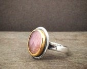 Freeform rose cut pink sapphire set in in 22k gold bezel and sterling silver - Made to order - classic ring - simple ring - pink stone ring