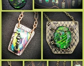 Faux Dichroic Glass Cabochons with Settings   with Instructor Erin Keck Sunday August 7, 2016