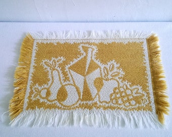 Mid Century Modern Woven Place Mat Set Gold and White Abstract Fruit and Vase Design