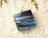 Petite Blue White Black Necklace, Dichroic Jewelry, Glass Jewelry, Fused Glass Jewelry, Fused Glass Pendant, Dichroic Necklace, 091016p100