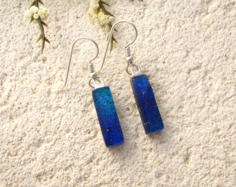 Petite Slim Earrings, Dichroic Earrings, Dangle Drop Earrings, Blue Ombre Earrings, Fused Glass Jewelry, Light Weight Earrings, 071206e102