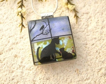 Small Cat Necklace, Cat Jewelry, Fused Glass Jewelry, Cat Pendant, Glass Necklace, Glass Jewelry, Cats in Window, Silver Necklace 121115p101